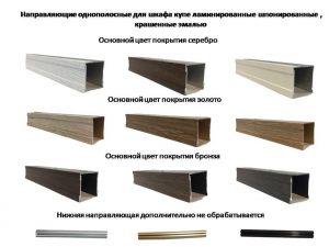 Направляющие однопосные для шкафа купе ламинированные, шпонированные, крашенные эмалью Химки