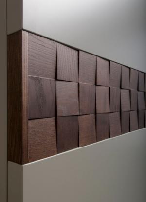 Вставка в двери с накладными квадратами шпон Химки